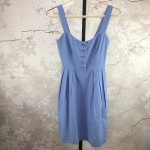 Annie Griffin Blue Cotton Sleeveless Dress Pockets